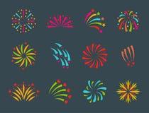Partito festivo della luce di esplosione di notte di evento di festa di celebrazione dell'illustrazione di vettore del fuoco d'ar Immagini Stock