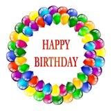 Partito multicolore dei palloni di compleanno Fotografia Stock
