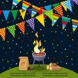 Partito o progettazione del manifesto del BBQ con le bandiere variopinte Immagini Stock