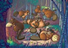 Partito sveglio dei castori del fumetto in Forest Clearing Fotografia Stock