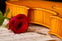 La partitura del violino ed è aumentato Fotografia Stock Libera da Diritti