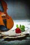 A partitura do violino e aumentou Fotografia de Stock