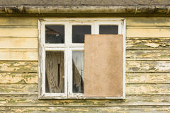 Partly boarded up window Stock Photos