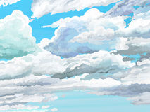 Partly Cloudy Afternoon painted Style. Painted style cloudy afternoon with cumulus clouds Royalty Free Stock Image