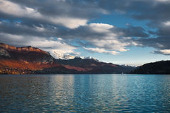 Partly Cloudy Annecy Lake Stock Photography