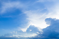 Partly cloudy in the evening sunset. Royalty Free Stock Photo