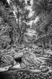 Partly Cloudy HDR BW ORG. Black and white of a mountain river shot in slow motion with boulders, trees and sky Stock Photography