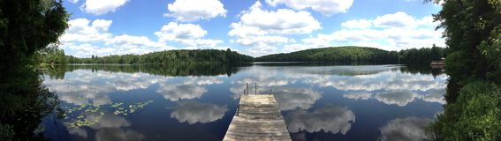 Partly Cloudy lake. Clouds over a lake Stock Photography