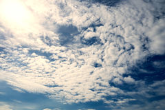Partly cloudy in the strong sunshine. Partly cloudy in the strong sunshine day at morning Stock Photos