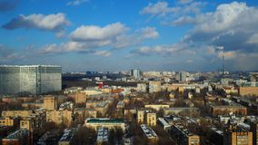 Partly cloudy winter time lapse with distant Ostankino TV tower, Moscow. 4K stock footage