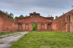 Partly demolished riding-hall from Czar times Stock Photo