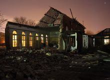 Partly demolished school Royalty Free Stock Images