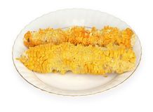 Partly eaten corn-cobs Stock Image