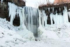 Partly frozen waterfall. Partly frozen Minnehaha waterfall, Minnesota Royalty Free Stock Images