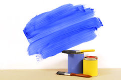 Partly painted blue wall Royalty Free Stock Photo