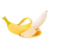 Partly peeled Banana isolated on white background Royalty Free Stock Photography