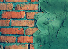 Partly Plastered Brick Wall Stock Photography