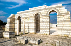 Partly reconstructed arches of the Great Basilica Pliska at the. A closeup of the main internal arches, part of a wall of the ancient Great Basilica Pliska, the Royalty Free Stock Images