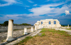 Partly reconstructed arches of the Great Basilica Pliska at the. The main internal arches, part of a wall of the ancient Great Basilica Pliska, the ancient Royalty Free Stock Images