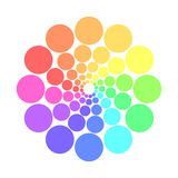 Partly transparent rainbow spectrum color circles arranged in the rings. Vector illustration Stock Photo
