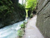 Partnach klyfta, bavaria, Tyskland Arkivfoton