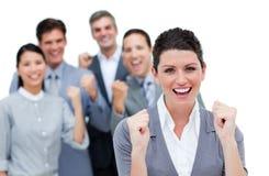 Partner biznesowy target988_0_ powietrze w świętowaniu Zdjęcie Stock