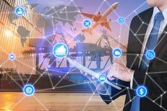 Partner c för manöverenhet för teknologi för anslutning för global affär global Arkivfoto
