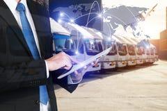 Partner globale globale c dell'interfaccia di tecnologia del rapporto d'affari Immagini Stock
