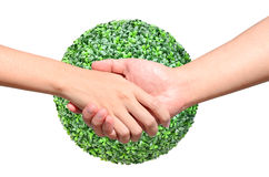 Partner hand on green planet world. Partner hand between a man and a woman on green planet world in signal of protection and conservation Royalty Free Stock Photos