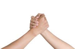 Partner hand between two Asian men. Partner hand between  two Asian men  on white background Stock Photography