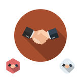 Partner handshake icon. Business agreement concept. Successful and profitable cooperation. Symbol of the great deal. Business design element vector illustration