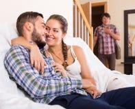 Partner having unfaithfulness woman Royalty Free Stock Images