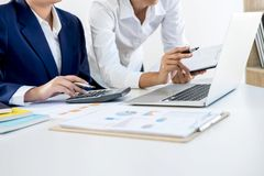 Partner meeting of business people colleagues consultation and d. Iscussion marketing plan meeting concept on financial report and analyzing investment project Stock Photo
