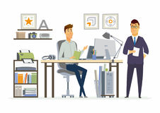 Partner Meeting - modern vector cartoon business characters illustration Royalty Free Stock Photography