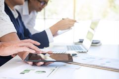 Partner meetings and briefing, Teamwork of business colleagues c. Onsultation and conference new strategy business plan working analyzing start up and investment stock photo