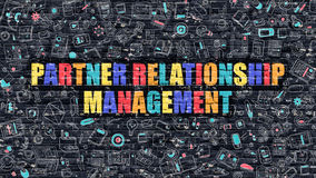 Partner Relationship Management Concept with Doodle Design Icons. Royalty Free Stock Photo