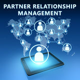 Partner Relationship Management. Illustration with tablet computer on blue background Royalty Free Stock Images