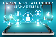 Partner Relationship Management. Text illustration with social icons and tablet computer and mobile cellphones on cyan digital world map background Royalty Free Stock Images