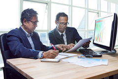 Partner of senior engineering working man serious meeting about Royalty Free Stock Images