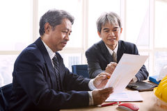 Partner of senior engineering working man serious meeting about Stock Images