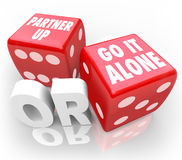 Partner Up or Go It Alone Two Red Dice Choice Decision Royalty Free Stock Photo