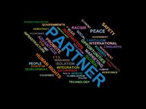 PARTNER - word cloud wordcloud - terms from the globalization, economy and policy environment Stock Photos