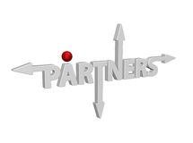 Partners. The word partners with arrows and red ball - 3d illustration Stock Images