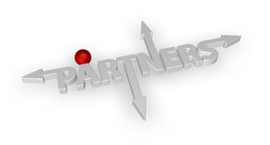Partners. The word partners with arrows and red ball - 3d illustration Royalty Free Stock Photo