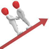 Partners. 3D image, two characters together to success Stock Photo
