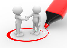 Partners. 3d people - men, person shaking hands and a marker. Partners Royalty Free Stock Images