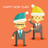 Partners in Business congratulate each other on. Christmas and New Year . Excellent partnership and success every year. illustration ps 10 Royalty Free Stock Photography