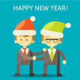 Partners in Business congratulate each other on. Christmas and New Year . Excellent partnership and success every year. vector illustration ps 10 Royalty Free Stock Image
