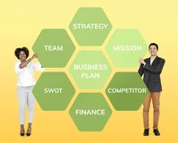 Partners with a business plan royalty free stock photo