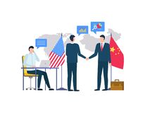 Partners of China and USA on Conference Agreeing. People from us and china representatives vector, men shaking hands, bosses with flags of country. Person royalty free illustration